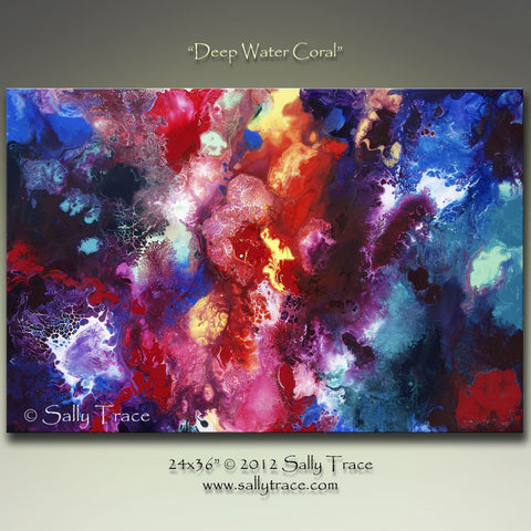 Modern art, contemporary fluid art painting, original abstract painting on stretched canvas by Sally Trace