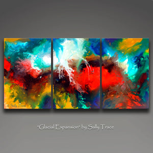 Glacial Expansion, giclee prints on canvas from the original abstract paintings by Sally Trace
