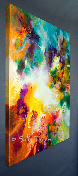 Gossamer, modern contemporary fluid art painting print by Sally Trace, left view