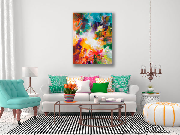 Gossamer, modern contemporary fluid art painting print by Sally Trace, room view
