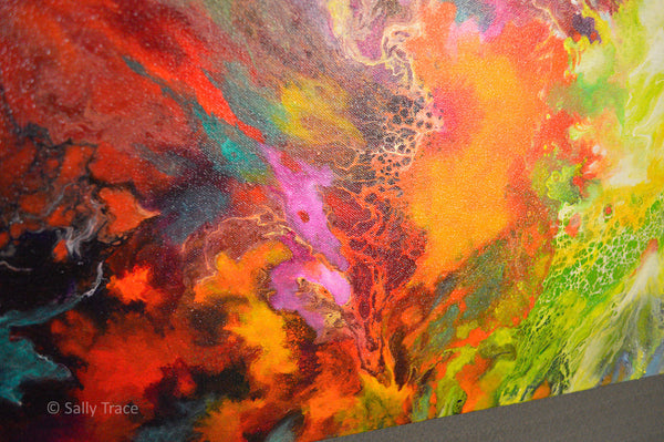 Harmonic Vibrations, original fluid acrylic pour painting for sale by Sally Trace, close up detail