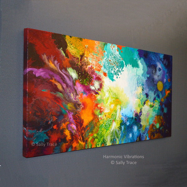 Harmonic Vibrations, original fluid acrylic pour painting for sale by Sally Trace, left side view