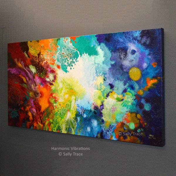 Harmonic Vibrations, original fluid acrylic pour painting for sale by Sally Trace, side view