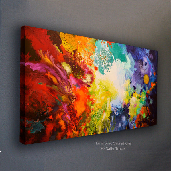 Harmonic Vibrations, fluid art giclee print for sale made from the original acrylic pour painting, side-view