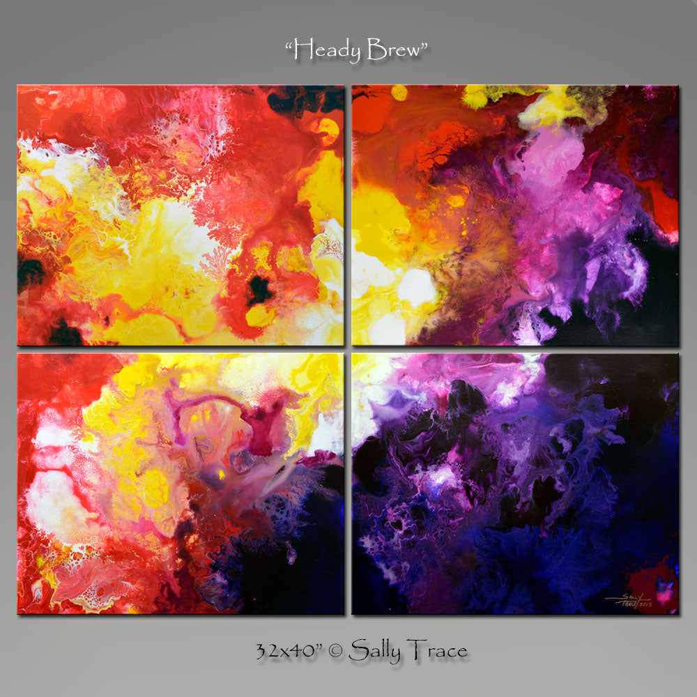 "Modern art painting for sale by Sally Trace ""Heady Brew"""