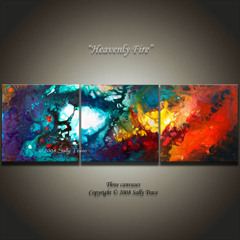 Heavenly Fire, triptych fine art prints by Sally Trace