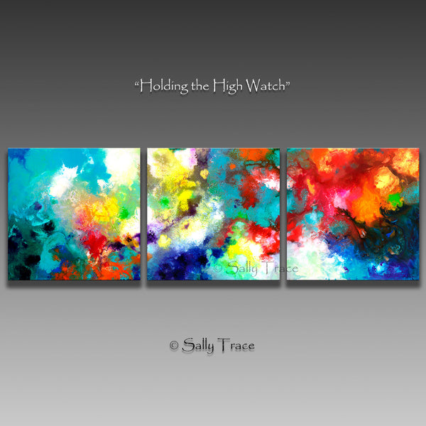 Holding the High Watch, large art prints from the original triptych painting by Sally Trace