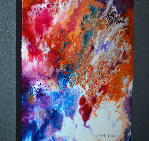 Reaching, original fluid pour painting