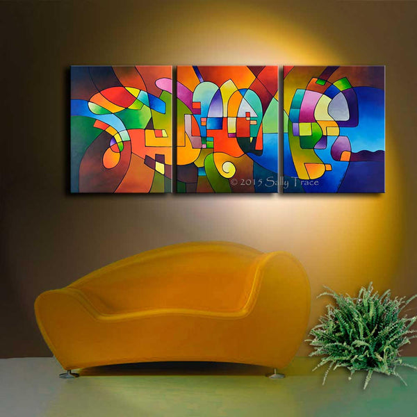 "Geometric art abstract painting by Sally Trace, ""Clear Focus 2"""