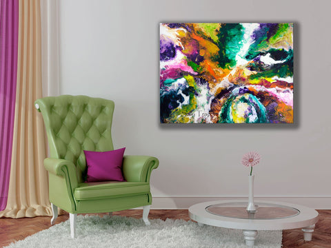 Modern abstract art, giclee art print on stretched canvas