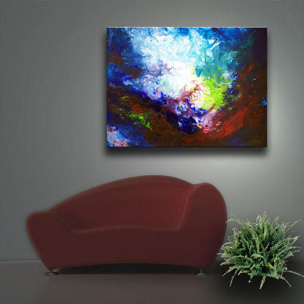 Underwater sea art abstract pitning print on stretched canvas Deeper Current