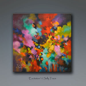 Excitation, giclee print on stretched canvas from the original textured abstract painting by Sally Trace