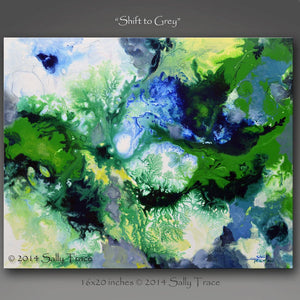 Shift To Grey, fluid art giclee print on canvas