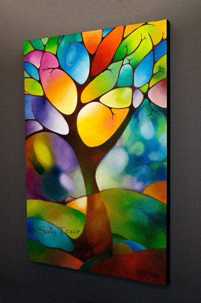 Singing Tree, original textured landscape painting by Sally Trace, side view
