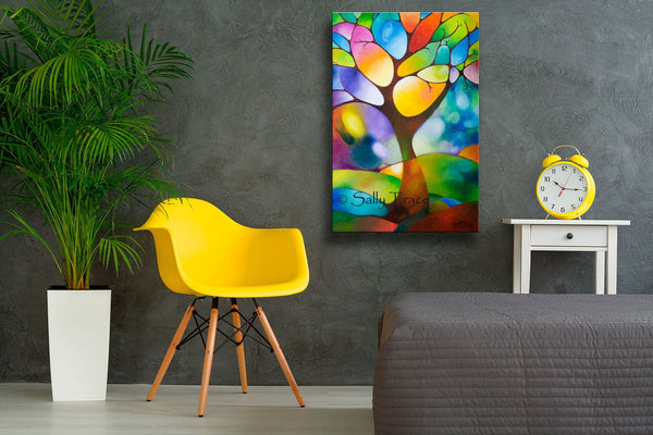 Singing Tree, original textured modern art geometric painting by Sally Trace, pictured in a roomroom