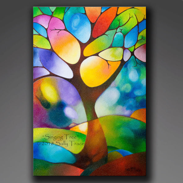 Singing Tree, original textured geometric painting by Sally Trace