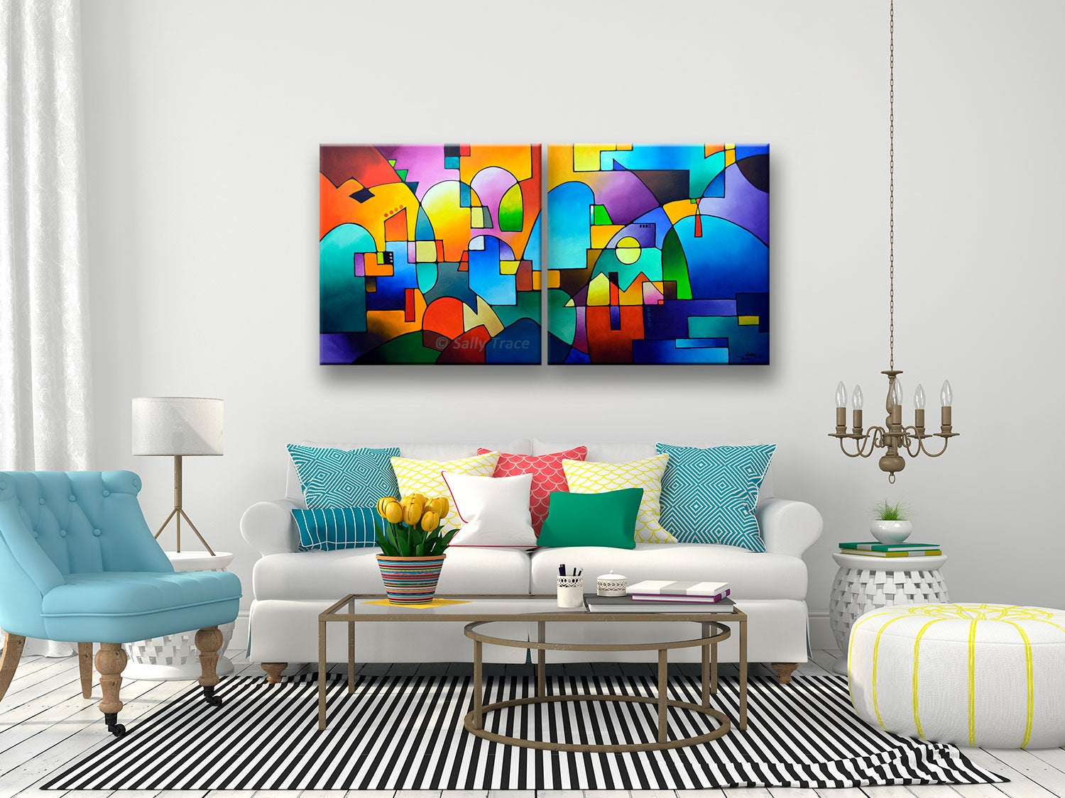 "Large modern wall art giclee prints set by Sally Trace, ""Urbanity Vista"""