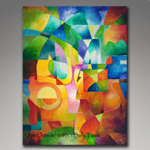 Just Outside, Abstract painting giclee print on stretched canvas