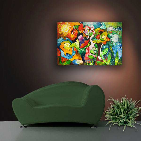 In Bloom, abstract palette knife garden art painting