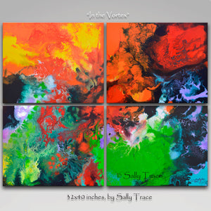 "Original abstract painting, four canvas painting ""In the Vortex by Sally Trace"