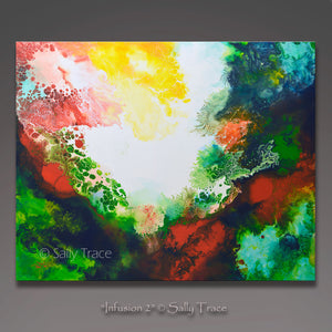 """Infusion 2"" by Sally Trace, a giclee print on stretched canvas made from Sally's original modern art, contemporary fluid art abstract acrylic painting"