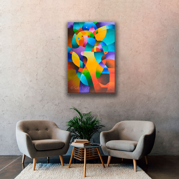"Abstract art paintings, modern art geometric hard edged original abstract painting ""Interior Journey"" by Sally Trace, free shipping"