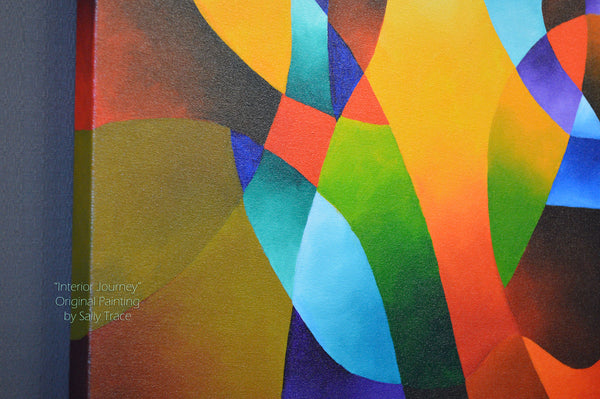 "Modern geometric hard edged original abstract painting ""Interior Journey"" by Sally Trace"