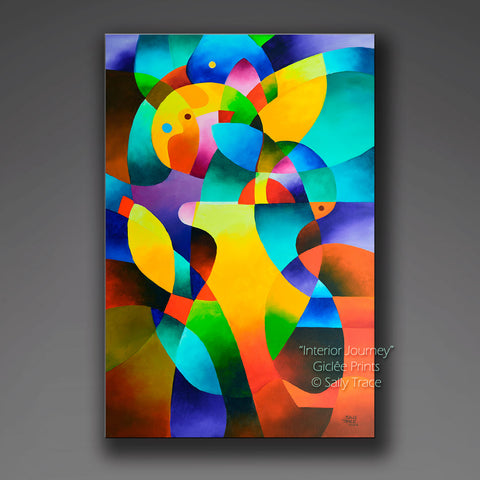 "Giclee prints on stretched canvas made from ""Interior Journey"", a hard edge abstraction geometric art painting by Sally Trace, modern contemporary art for sale by the artist"