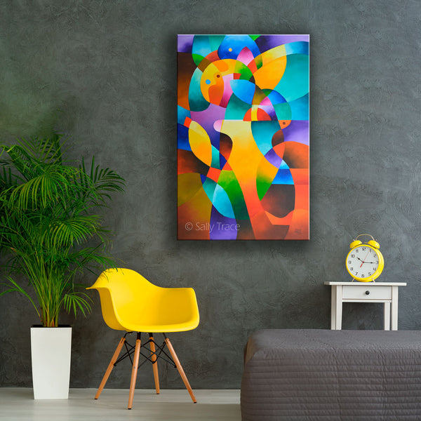 "acrylic abstract paintings for sale, modern geometric hard edged original abstract painting ""Interior Journey"" by Sally Trace"