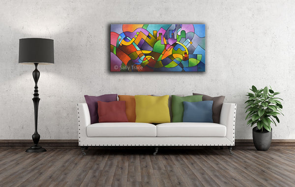 Journey Back Home, original modern contemporary abstract painting by Sally Trace, room view