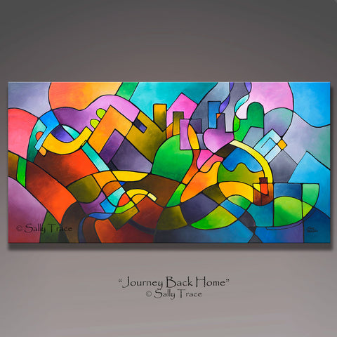 """Journey Back Home"" giclee prints from the original abstract cityscape painting"