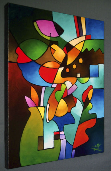 "Original art abstract painting for sale by Sally Trace, ""Leaf and Vase"""