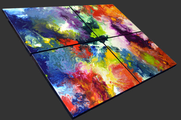 Mastering the Mix, original acrylic multi canvas painting, sold