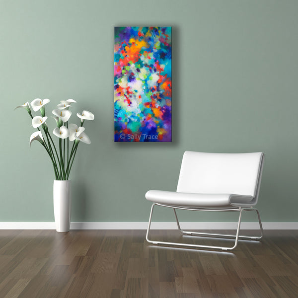 """Lifting Clouds"" original fine art abstract textured painting for sale by Sally Trace, room view"