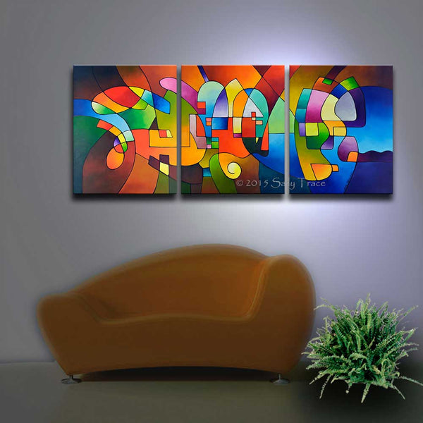 """Clear Focus 2"" large contemporary triptych fine art prints"