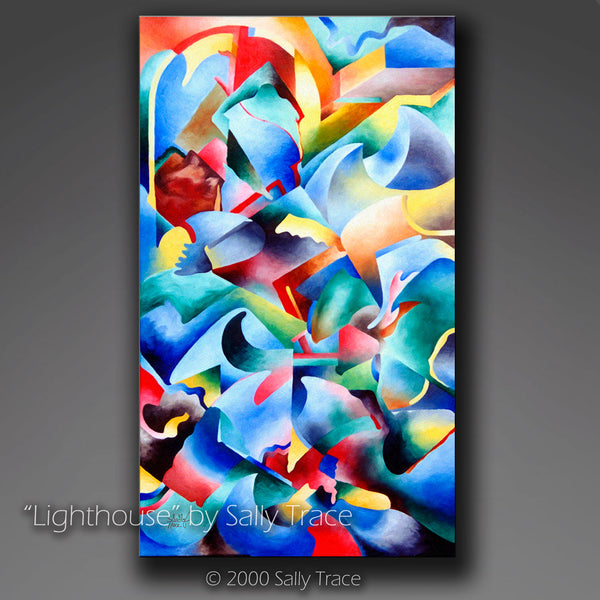 """Lighthouse"", Abstract Geometric Seascape Giclee Print"