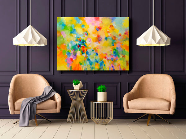 "Modern contemporary art for sale by Sally Trace, ""Lightness"" giclee print on canvas by Sally Trace, room view"