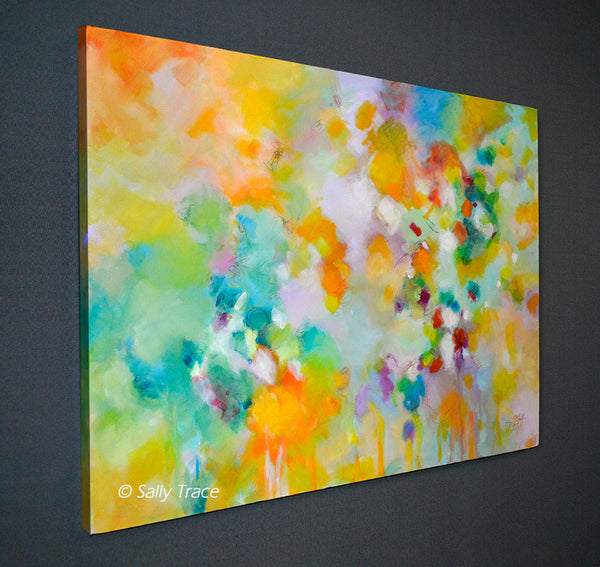 "Modern contemporary art for sale by Sally Trace, ""Lightness"" giclee print on canvas, room view"