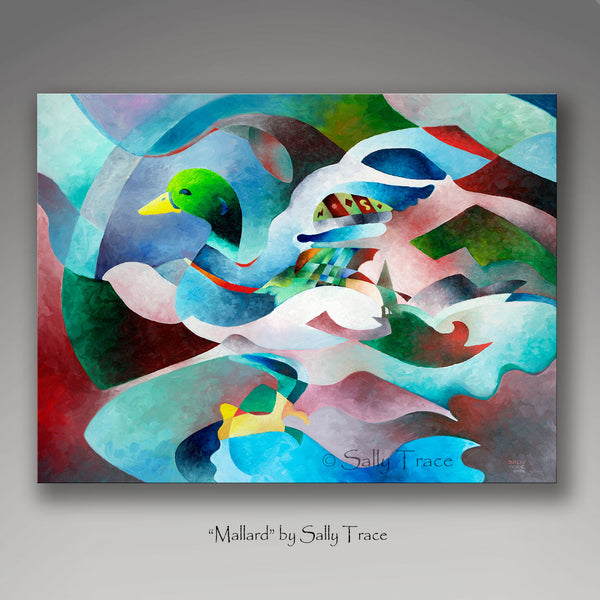 Abstract modern art painting print of a colorful mallard by Sally Trace