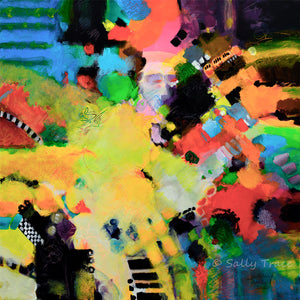 Expressionist free form color field modern abstract painting print by Sally Trace