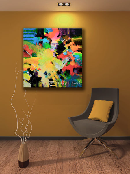 Free form color field abstract painting print by Sally Trace