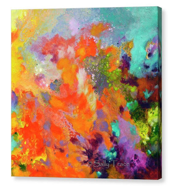 Momentum, contemporary abstract art triptych painting prints on canvas by Sally Trace, canvas two
