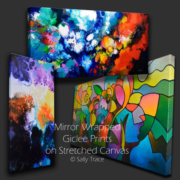 """Continuity"" four canvas giclée print set made from my pour painting"