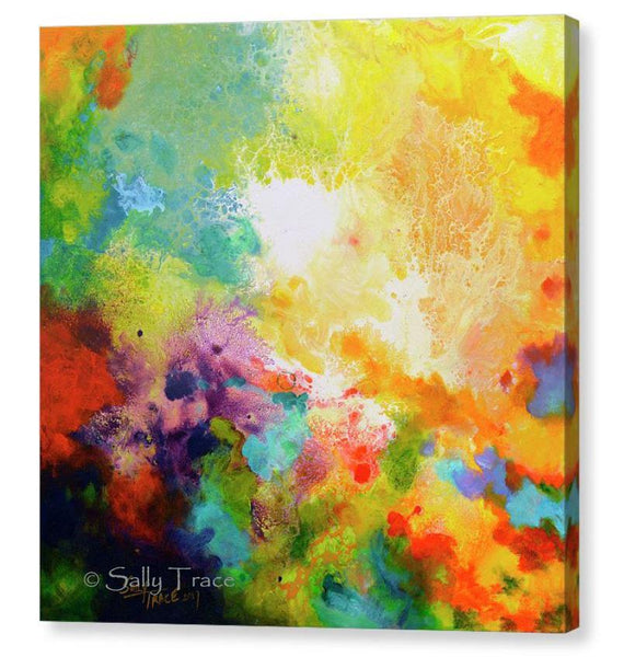Momentum, contemporary abstract art triptych painting prints on canvas by Sally Trace, canvas one
