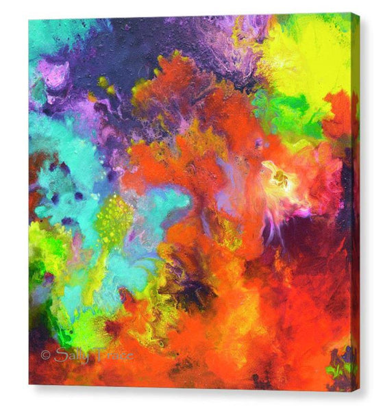 Momentum, contemporary abstract art triptych painting prints on canvas by Sally Trace, canvas three