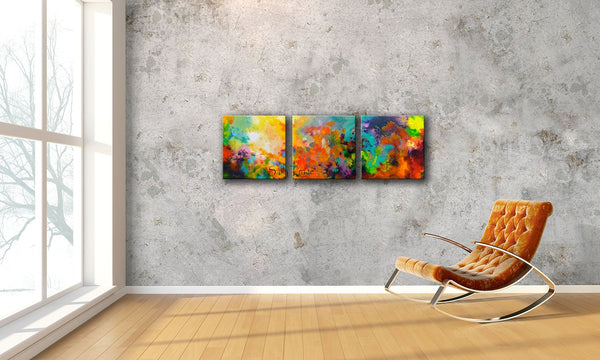 Momentum, original abstract triptych paintings. Three 20x20 inch paintings, acrylic on canvas. A richly detailed fluid painting with light texture, room view