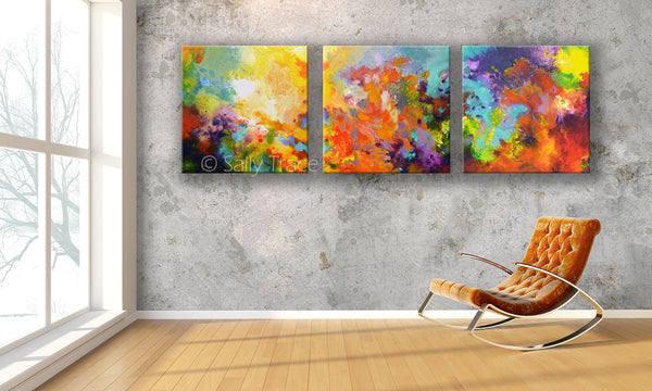 Momentum, contemporary abstract art triptych painting prints on canvas by Sally Trace, room view