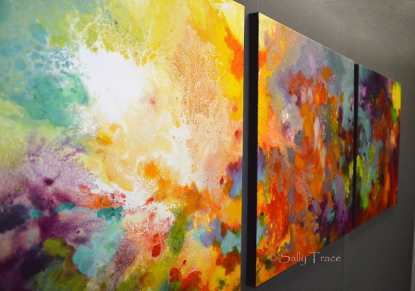 Momentum, original abstract triptych paintings. Three 20x20 inch paintings, acrylic on canvas. A richly detailed fluid painting with light texture, close-up view