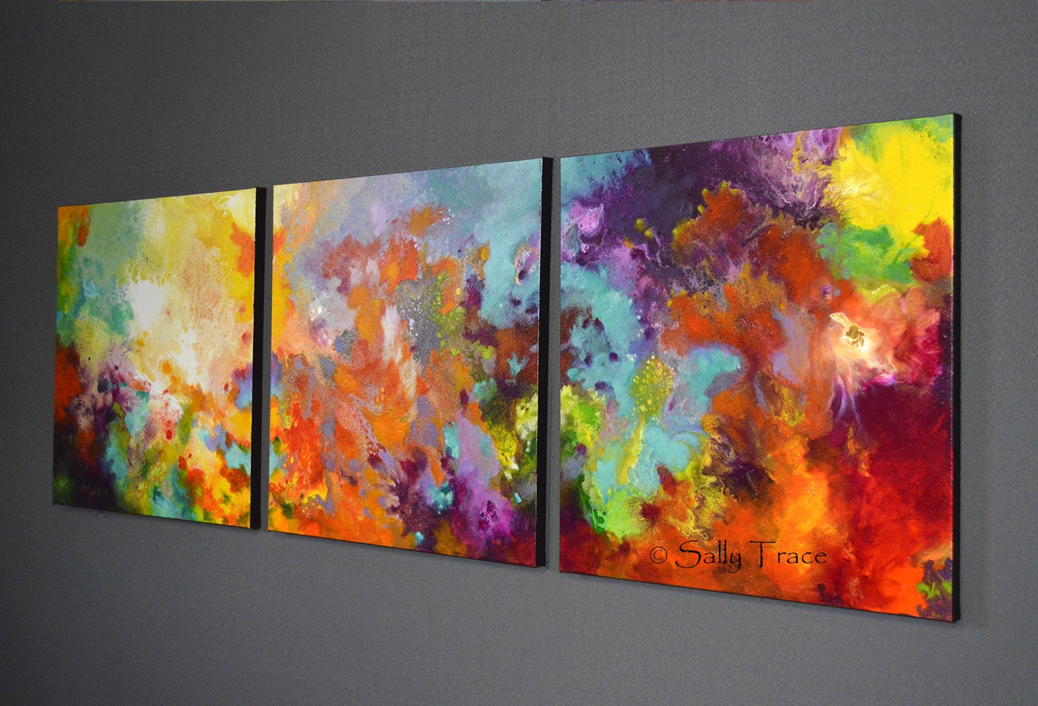 Momentum, original abstract triptych paintings. Three 20x20 inch paintings, acrylic on canvas. A richly detailed fluid painting with light texture, side view
