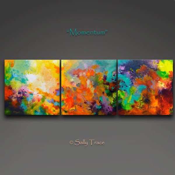 "Momentum, original abstract triptych paintings. Three 20x20 inch paintings, acrylic on canvas. A richly detailed fluid painting with light texture. 20"" high, 60"" wide, 3/4 inch deep gallery wrapped, back stapled canvas."